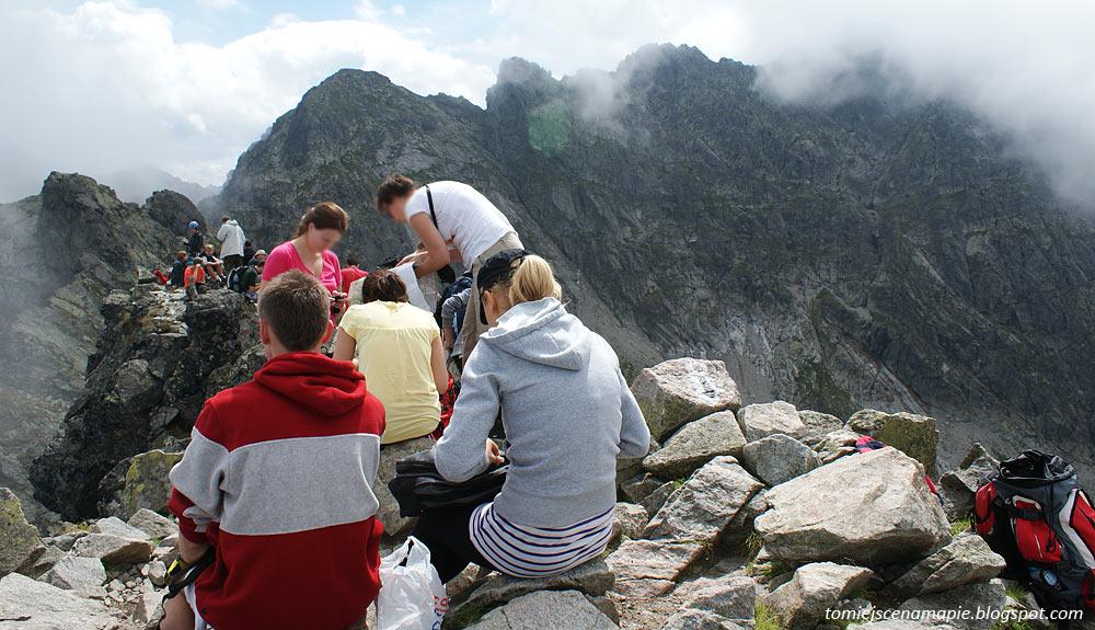 Kościelec, szczyt, turyści w Tatrach