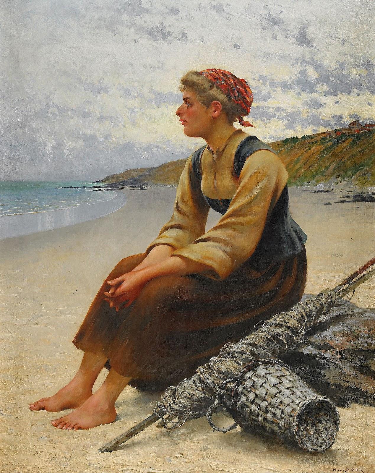 August Hagborg Ostronplockerska p C A stranden