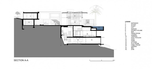Section drawing of modern home