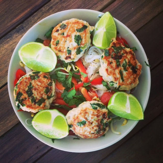 Soulful healthy living asian chicken patties with vermicelli salad i doubt id miss western food at all this michelle bridges recipe has been adapted to include red forumfinder Gallery