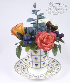 букет керамическая флористика розы черника ботанические копии цветов на заказ, букеты, красивые цветы