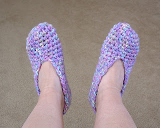 Crochet slippers made by Vicky Brown of Shore Debris Jewelry Design
