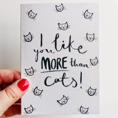 Ma Bicyclette: Buy Handmade | Valentine's Day Cards - I like you more than cats