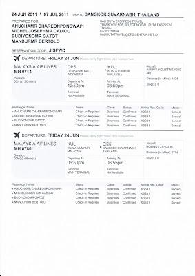 Contoh Tiket Pesawat Elektronik - International Flight