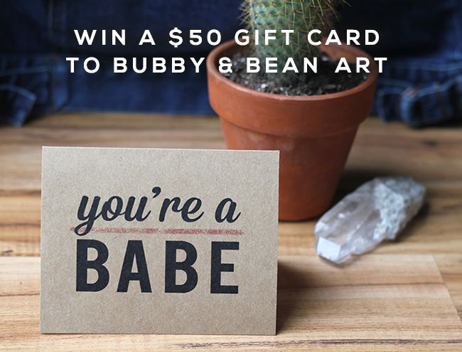 GIVEAWAY // Win a $  50 Gift Card to Bubby & Bean Art!