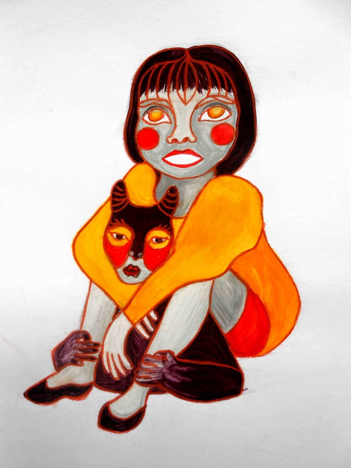 illustration jeunesse fille animaux diable