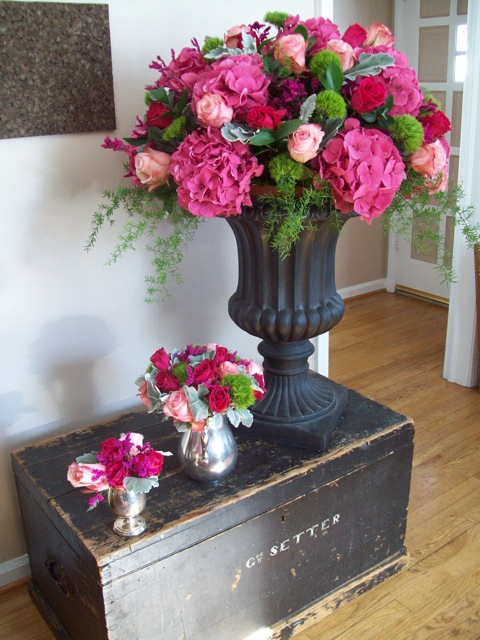 sweet pea floral design, Ann Arbor, Valentines Day Urn arrangement hydrangea, pink, roses, limonium, huge, outdoor wedding, ceremony flowers vintage