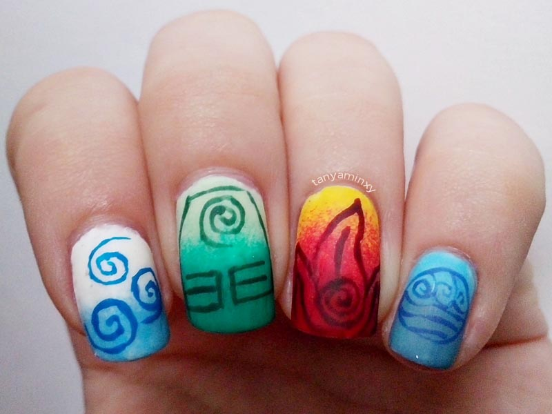 Matching Manicures Cartoon Avatar The Last Airbender Nails Nail Art Nail Design Four 4 elements air earth fire water