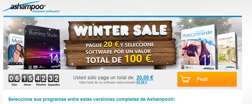 Escojer 100 €uros de software usted sólo paga un total de: 20,00 € Captura