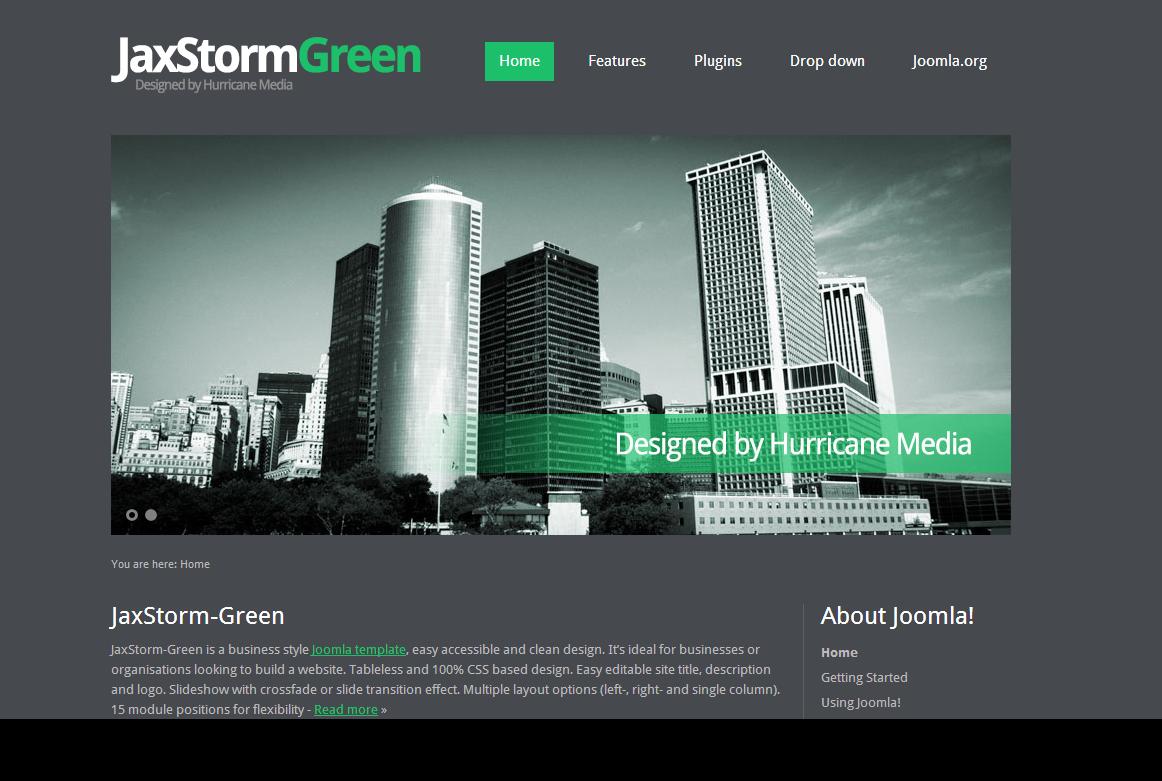 JaxStorm Green Free Joomla Template
