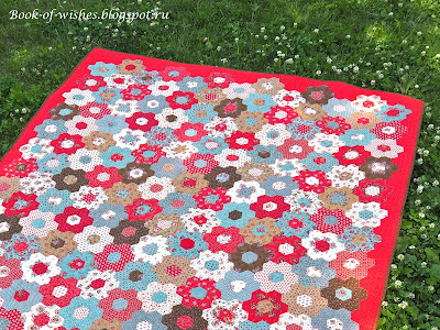 patchwork hexagons quilt