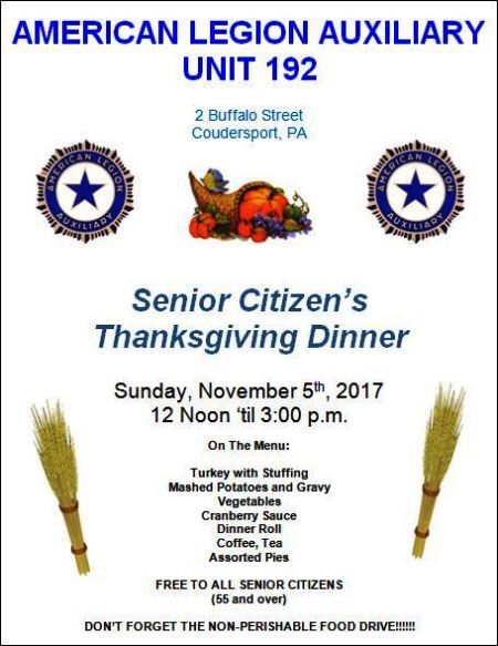 11-5 Senior Citizens Dinner, Coudy Legion Aux.