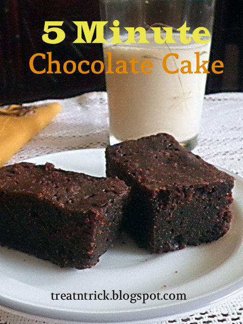 5 Minute Chocolate Cake Recipe @ treatntrick.blogspot.com