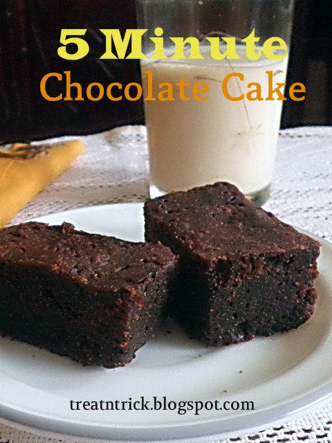 5 Minute Chocolate Cake Recipe @ treatntrick.blogspot.com