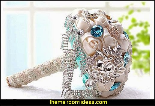 Silk Roses with Deluxe Flower Style and Elliptical Shape Rhinestones,the Rhinestones Chain Rose Bridal Wedding Bouquet
