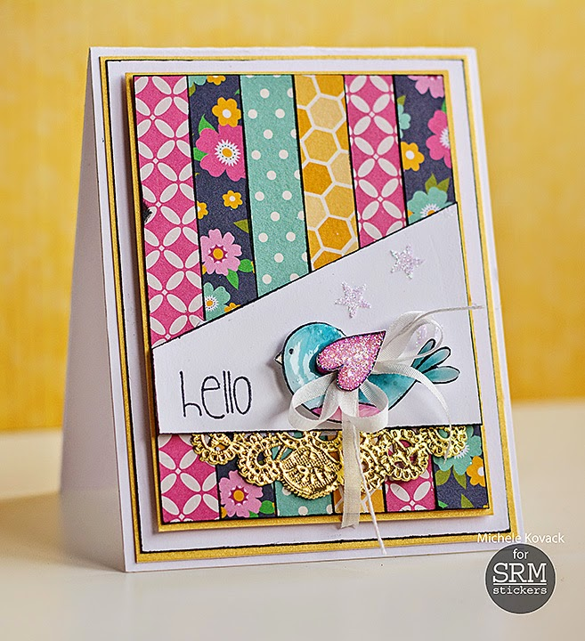 SRM Stickers Blog - Hello by Michele - #card #janesdoodles #gardenfriends #clearstamps #golddoily