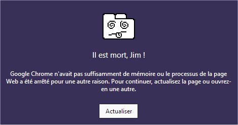 capture d'écran Google Chrome - erreur Il est mort, Jim