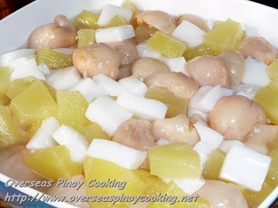 Almond Jelly, Lychee and Pineapple Salad
