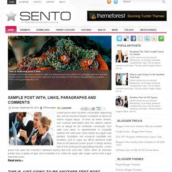 Sento blogger template. free blogspot template magazine style