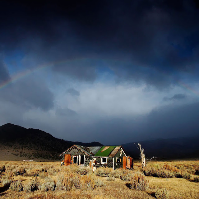 iPad Wallpaper - Abandoned House Under Rainbow