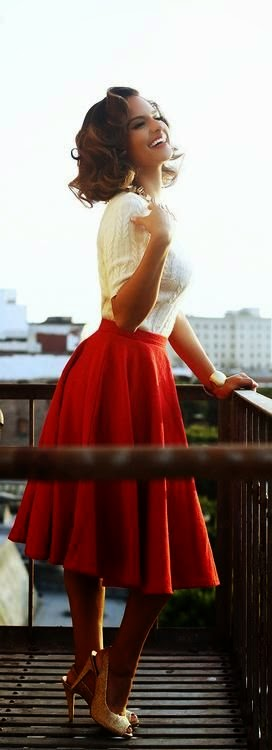 Nice Woman's Fashion White and Red dress