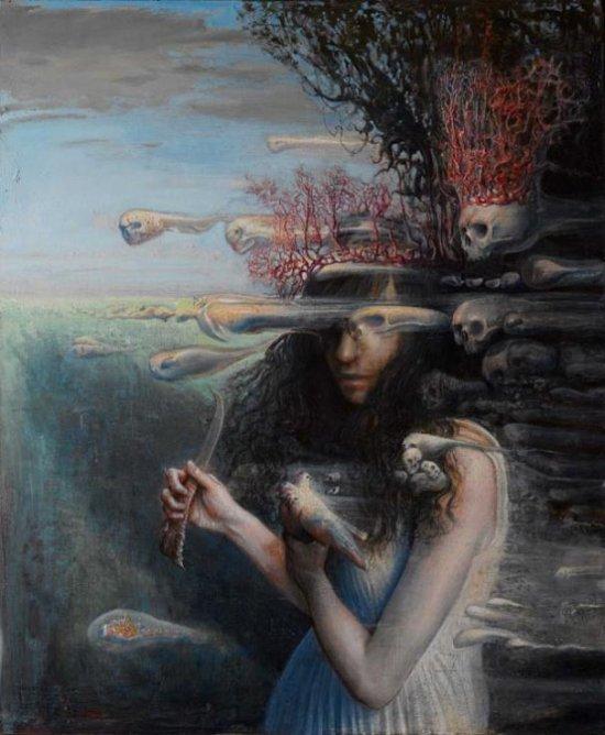Agostino Arrivabene pinturas surreais sombrias estilo renascentista parasitas fungos simbiose