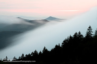 Foggy Blue Ridge Mountain Sunset By Bill Swindman