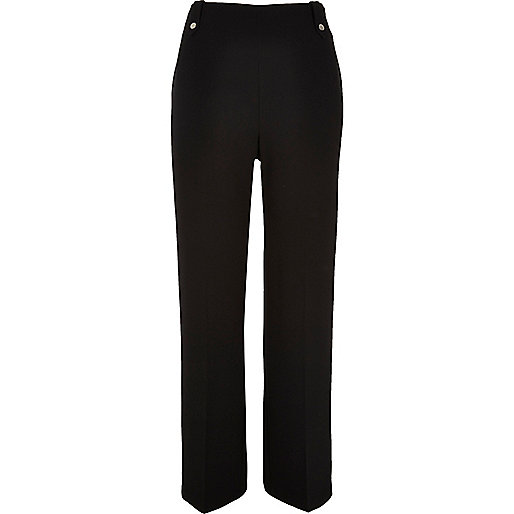 black wide leg trousers river island, river island black flared trousers,