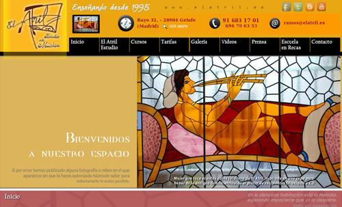 página web de El Atril Estudio: Escuela de música con clases de lenguaje musical, piano, guitarra, violín, canto..., para todas las edades, en Getafe, Madrid