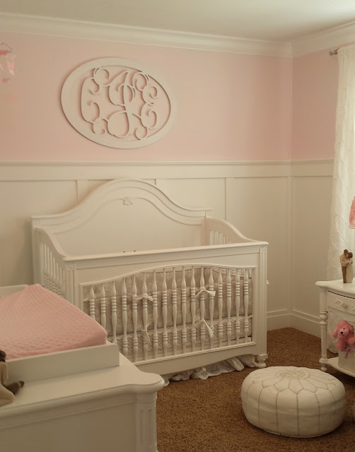 nursery, girl nursery, white nursery, gray nursery, pink nursery, gray and pink, gray and pink nursery, girl, baby girl, crib, white crib, white dresser, pottery barn, pottery barn nursery, gray rocker, board and batten, board and batten nursery, 3/4 board and batten, monogram, name monogram, wooden monogram, pink wall, ballerina pink, benjamin moore,