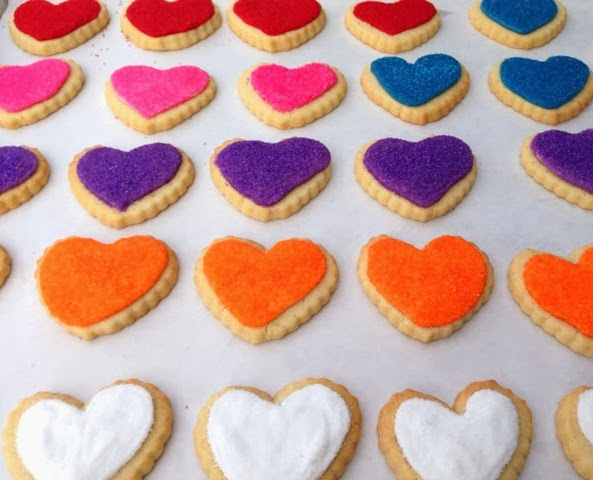 sugared valentine heart cookies