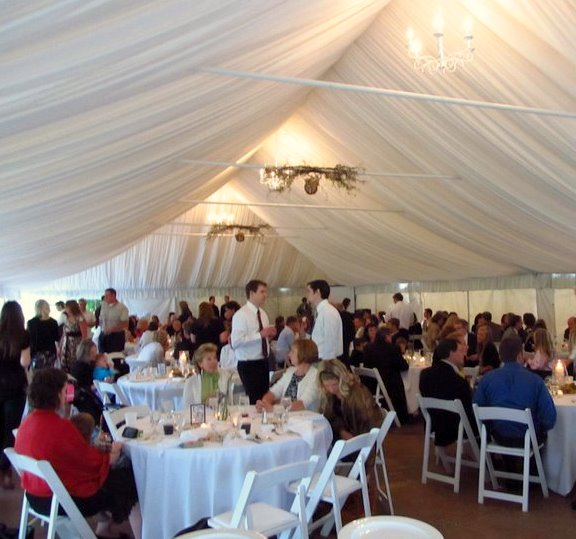 The reception was in an outdoor tent at Oak Ridge Golf Course a short drive