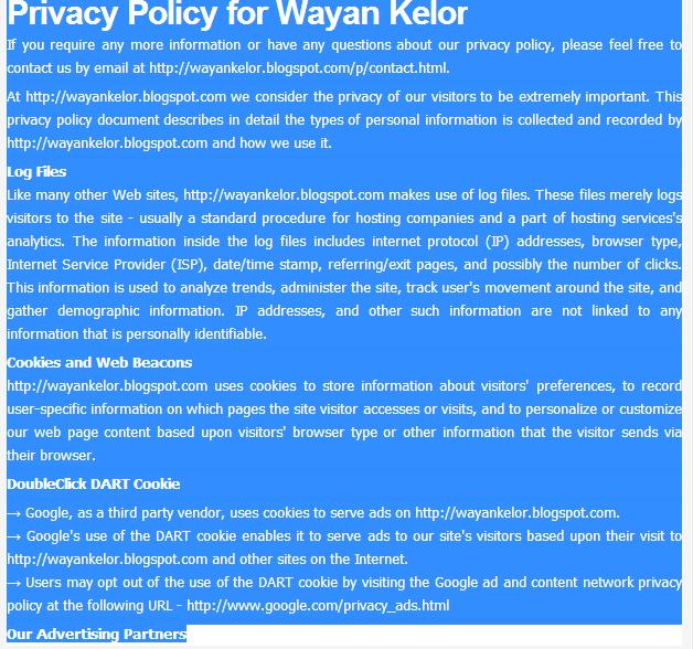 Langkah terakhir membuat privacy policy