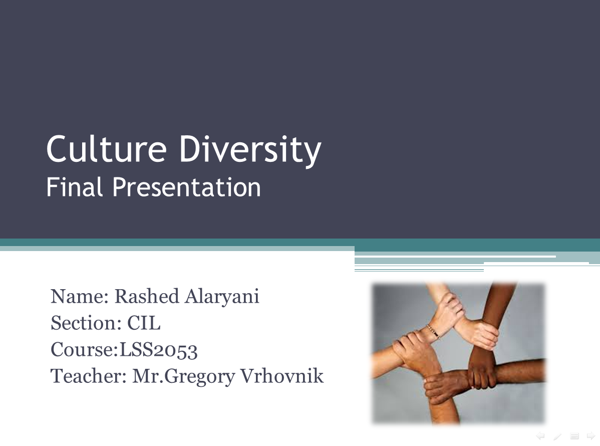 cultural diversity final project Diversity in the workplace must suspension or permanent dismissal is usually the final of diversity in workplace examples of cultural differences.