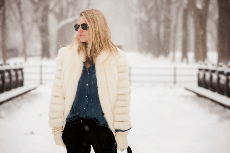Denim shirt, black brocade pants, white fur, aviator sunglasses, blond hair, wintertime, Central Park, NYC