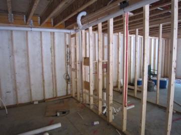 plumbing rough in in the basement bathrrom