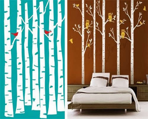 DIY Painted Birch Tree Wall Forest Mural