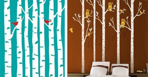 Favorite things home decor diy painted birch tree wall for Diy birch tree mural
