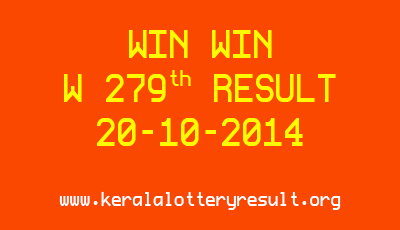 Win Win Lottery W 279 Lottery Result 20-10-2014