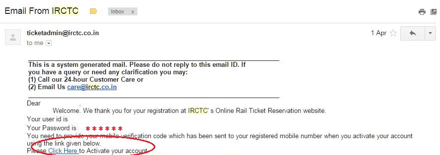 sample irctc registration email