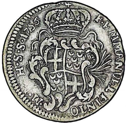 Moeda mandada cunhar em 1756 por D. Manuel Pinto