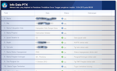 Halaman verifikasi berisi Info Data PTK menurut data yang diupload ke Pendataan Pendidikan Dasar sesuai tanggal pengiriman