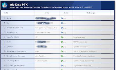 Halaman verifikasi berisi Info Data PTK menurut data yang diupload ke Pendataan Pendidikan Dasar sesuai tanggal pengiriman