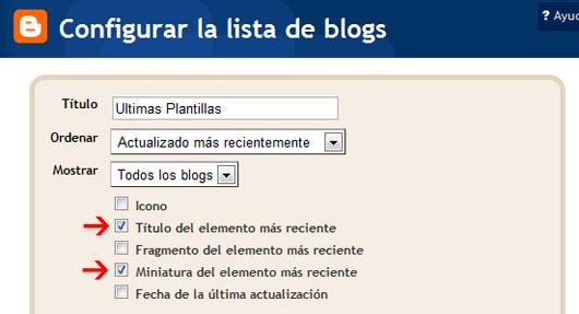 configuración del widget de lista de blogs