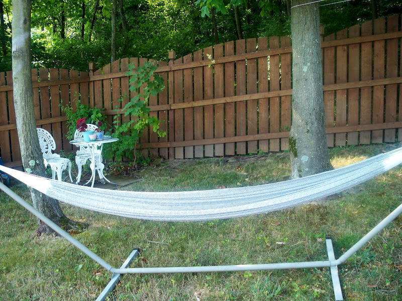 A hammock makes a great place to lay in  the summer.