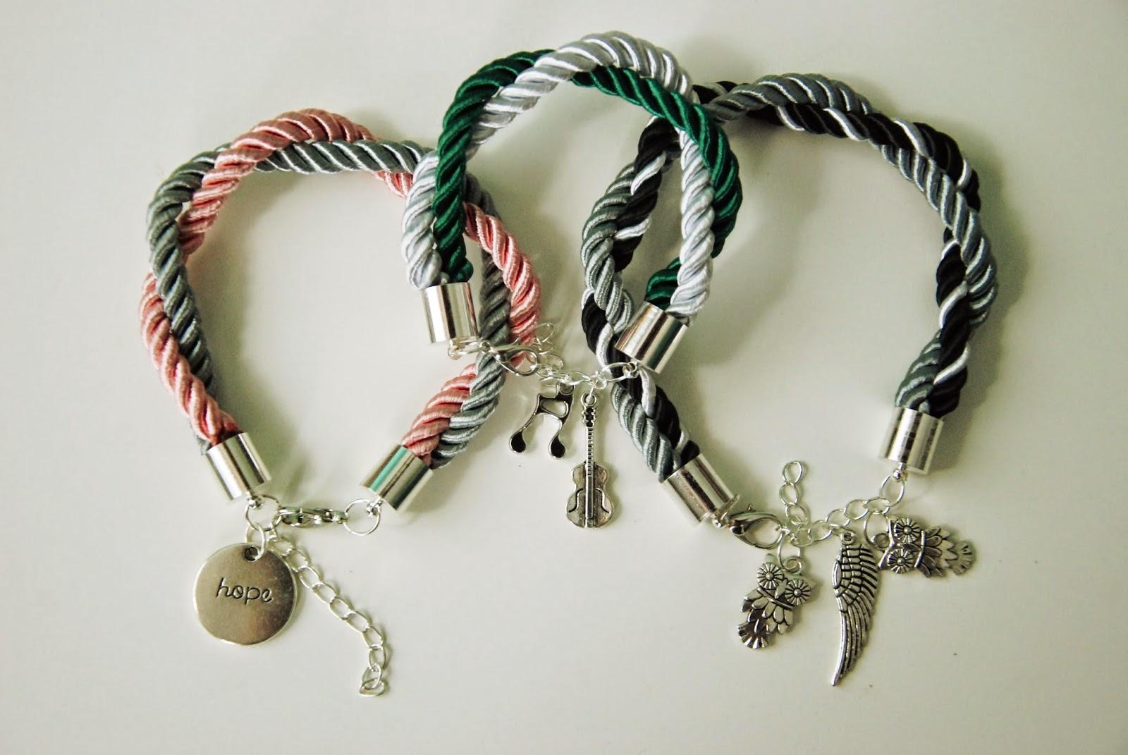 Bransoletki handmade: sznur jubilerski + charmsy