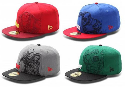 The Avengers Hat Collection by New Era - Iron Man Outline, Captain America Outline, Thor Outline & Hulk Outline