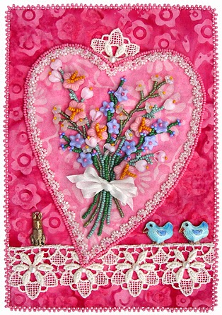 bead embroidery by Robin Atkins, Valentine