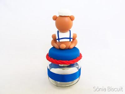 Ursinho Marinheiro Biscuit Potinho Lembrancinha