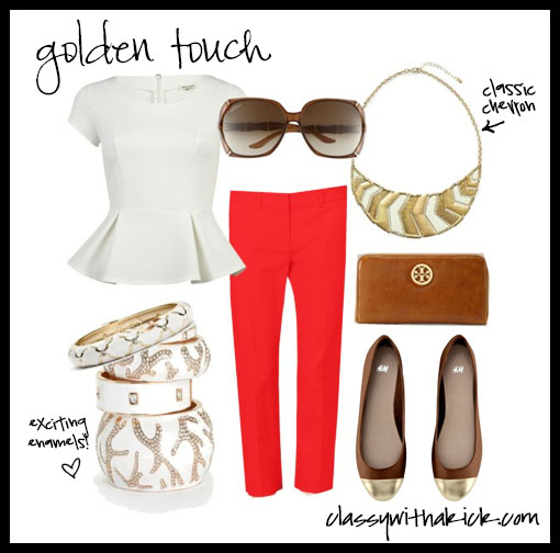 Casual Outfit with white red and gold